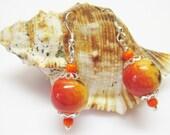 Red Earrings - Apple Coral Earrings - Sterling Silver - Dangle