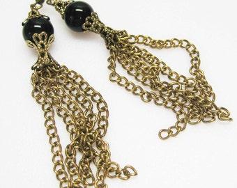 Long Vintage Inspired Brass Chain Dangle Earrings - Black Gemstone- Metal Earrings - Boho Earrings - Fashion Earrings