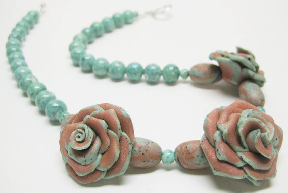 Coppery Brown Polymer Clay Rose Necklace