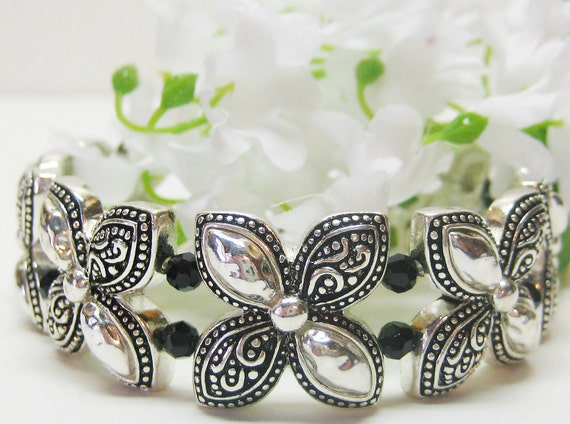 RESERVED for Rhellam Silver and Black Flower Cuff Bracelet