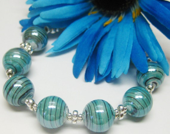 Teal Striped Glass and Sterling Bracelet