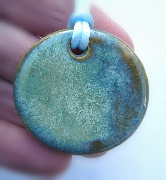 Misty Morning landscape  Circle Pendant Earth tones Necklace Stoneware Jewelry by sugargrovepottery on etsy