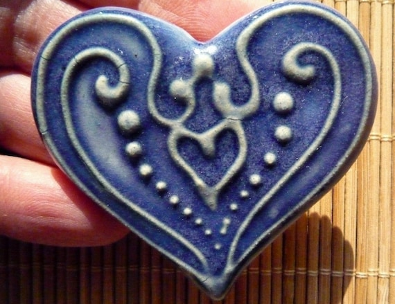 Blue Heart Jewelry White  Slip-trailed Heart Pin Brooch by sugargrovepottery on etsy
