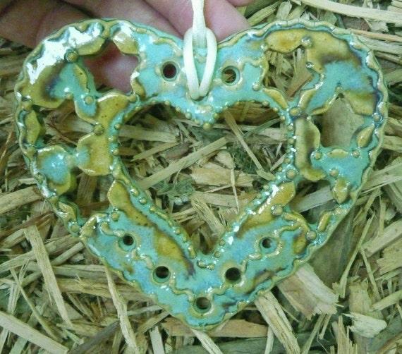Sparkling Lacy Mint Heart Ornament