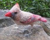 Mrs. Northern Cardinal, needle felted bird art fiber sculpture