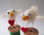 Cupid, needle felted bird