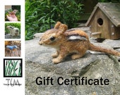 GIFT CERTIFICATE for TCM Designs needle felted birds and critters