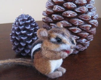 Seed the tiny chipmunk, needle felted animal fiber art