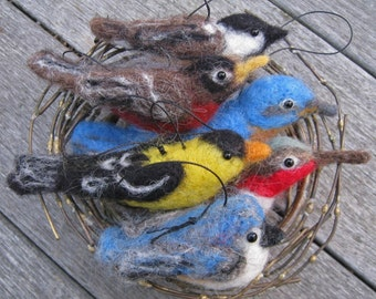 One bird ornament, needle felted
