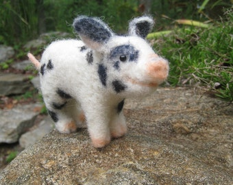 Teacup pig, needle felted animal sculpture