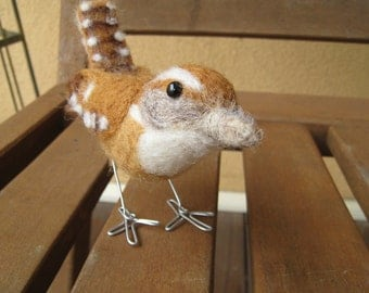Mr. Carolina Wren, needle felted bird sculpture
