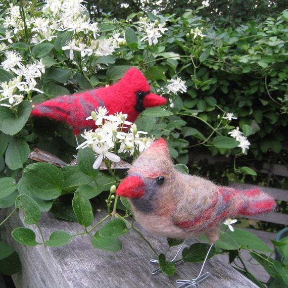 Mr. and Mrs. Northern Cardinal, needle felted birds art fiber sculpture