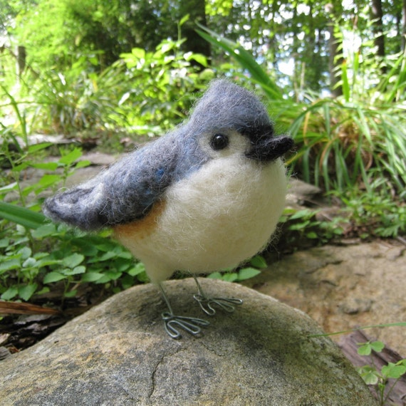 Mr. Tufted Titmouse or Black-Crested Titmouse, needle felted bird