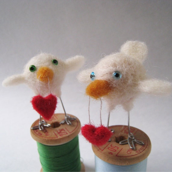 Cupid, needle felted bird
