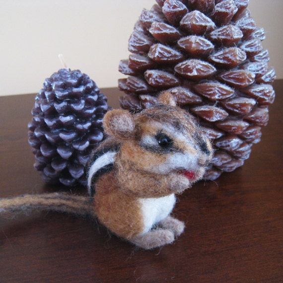 Seed the tiny chipmunk, needle felted animal