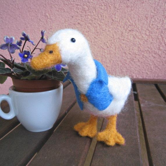 Dapper Duck, needle felted bird