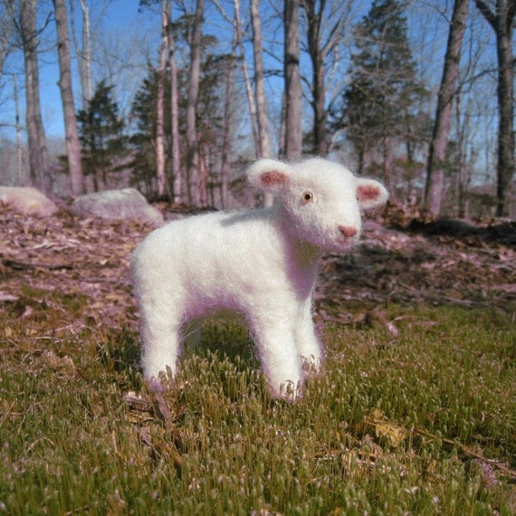 Little lamb, needle felted animal