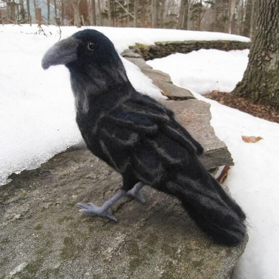 Mr. Common Raven, needle felted bird