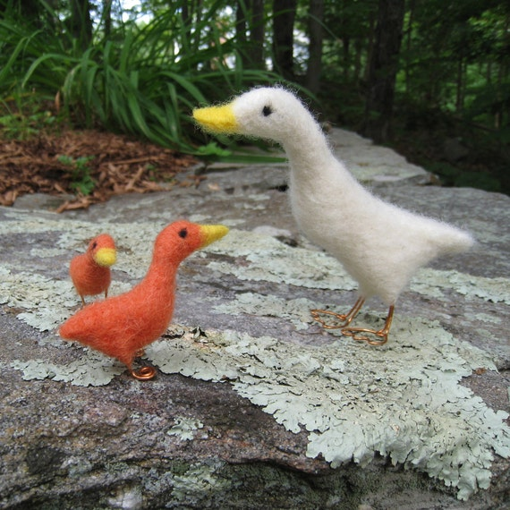 Make way for ducklings, needle felted birds, animal sculpture
