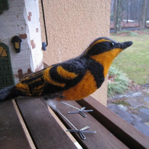 Mr. Varied Thrush, needle felted bird sculpture