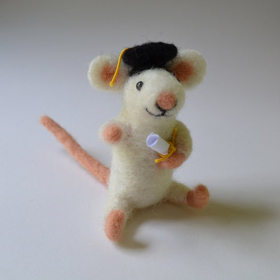Mouse graduate, needle felted animal fiber art sculpture