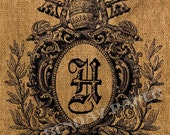 Victorian Monogram Crest H Antique Burlap Feedsack Pillow Illustration Digital Download 8x8