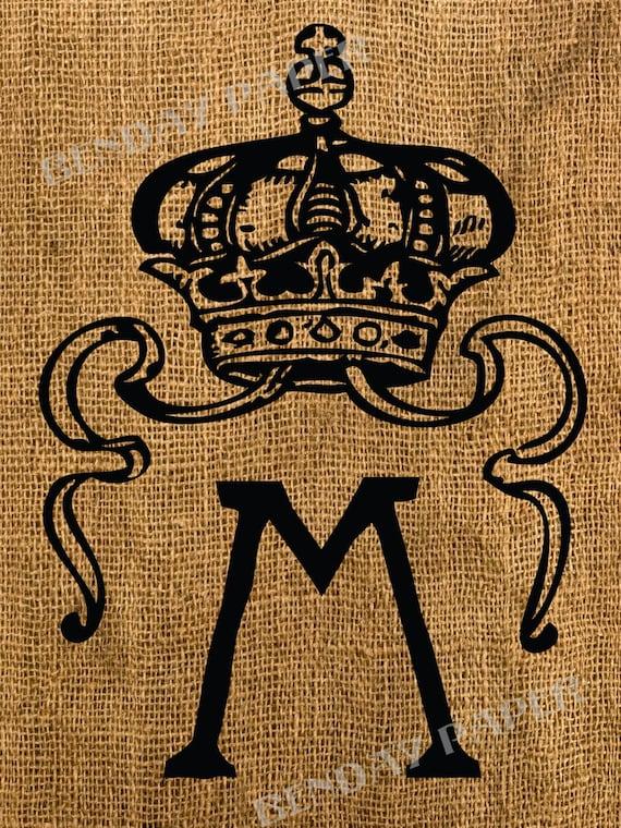 Victorian Crown Monogram M Antique Burlap Feedsack Pillow Illustration Digital Download 6x8