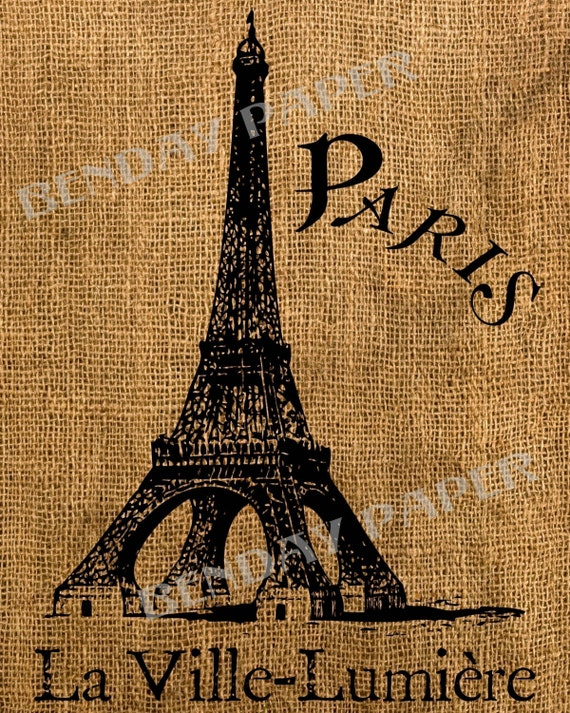 French Eiffel Tower Antique Burlap Feedsack Pillow Illustration Digital Download 8x10