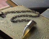 Day Walker . Hazy Sunshine Carnelian Fang and Recycled Bullet Shell Unisex Necklace