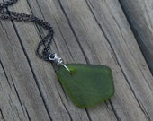 Billiard.   Smoothed Green Kite Natural Lake Glass Pendant  Necklace