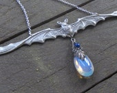 I Am Coming To You. Long Wingspan Bat and Opalite Sterling Silver Necklace.