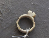 Big 1 dollar sale item - Antler Heart ring . Genuine Rustic Deer antler carved ring size 2 semi smooth with a carved heart.