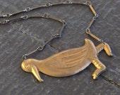 PIF sale Off Kilter. Dodo bird Brass Stamping necklace