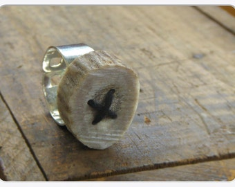 ADIRONDACK . Rustic threaded Deer antler ring. Fits any size