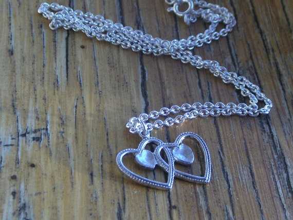 PIF sale hearts and soul. Overlapping Lovers or Partners  hearts and music note Valentines day necklace