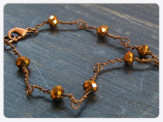 ELECTROCUTION. Barb wire wrapped Copper Czech Glass Bracelet