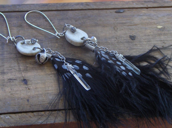 The Raven Witch. Black feather, deer antler slice, gypsy bell and tourmaline earrings. ooak