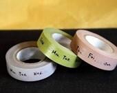 Days of the Week Japanese Washi Masking Tape Set of 3 - 15mm
