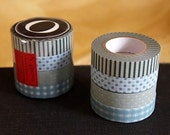 Stripes and Dots Japanese Washi Tape set of 4 - (O) - from PrettyTape - for scrapbooking