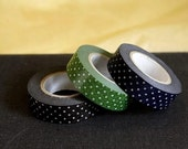 Dark Polka Dots Japanese Washi tape Set of 3 - Blue, Green and Black (B) - from PrettyTape