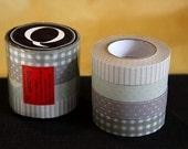 Japanese Decorative Washi tape set of 4 - Stripe Dots Gingham Grid 13mm (Q) PrettyTape