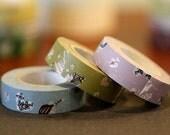 Birthday Celebration Japanese Washi Masking Tapes Girl Fun Heart Set of 3