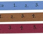 Numbers washi tape Japanese Washi Masking Tape - Brown Blue Raspberry 15mm
