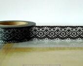 Black Paper Lace- Scrapbook Paper Washi Tape Japanese 15mm Single 49ft
