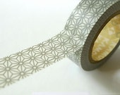 Traditional Japanese Pattern GREY STAR Japanese Washi Tape 15mm - MT