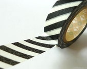 Japanese Washi Tape Black and white Striped- Thick Diagonal Stripe 15mm MT