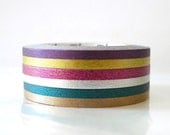 Thin Washi Tape Set SILVER GOLD Dark Colors Two Tone MT Masking Tape - set of 3 Duo Tone