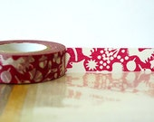 Fall Japanese Washi Tape - Red Squirrel, Acorn, Leaves Masking Tape 15mm Embellishment, Scrapbooking