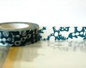 Dark TEAL Blue Squirrel, Acorn, Leaves Japanese Washi Tape - Masking Tape 15mm Fall Woodland Decor Embellishment, Scrapbooking