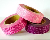 PINK Wedding Decorations- Pink Rose FLOWER Pattern Japanese Washi Tape Set of 3
